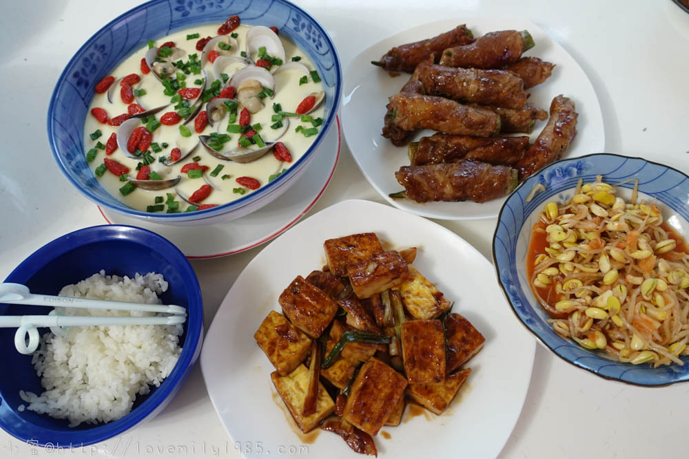 【廚房菜鳥。第一次煮飯就上手】照燒秋葵豬肉捲.紅燒豆腐.蛤蠣蒸蛋~非常簡單的菜鳥自學食譜+實作